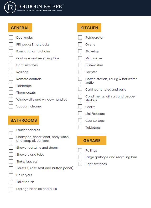 Loudoun Escape checklist with bullet points for room areas to clean from Loudoun Escape guidebook